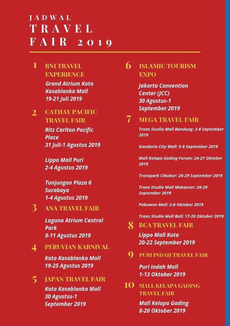 Promo Tiket Paket Tur Jadwal Travel Fair 2019 Juli Okt Antavaya