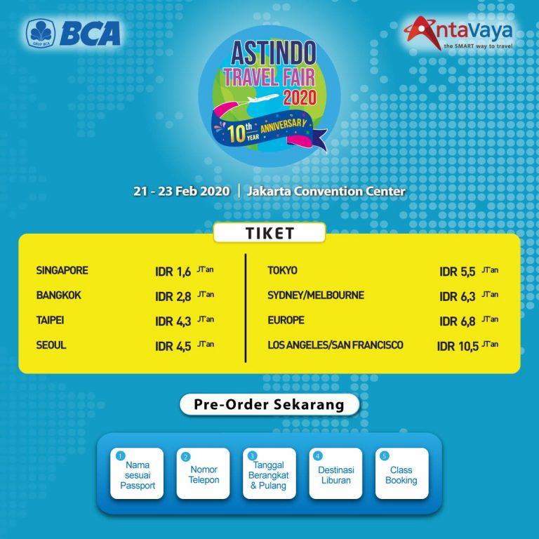 Jadwal dan Rincian Harga Tiket Murah di Astindo Travel Fair 2020